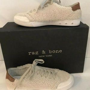 Rag & Bone Shearling Fur Low-Top Sneakers 39 8 8.5